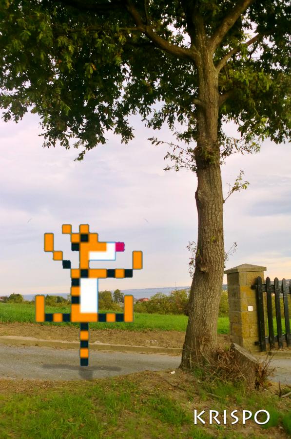 tiger pixelado junto a arbol