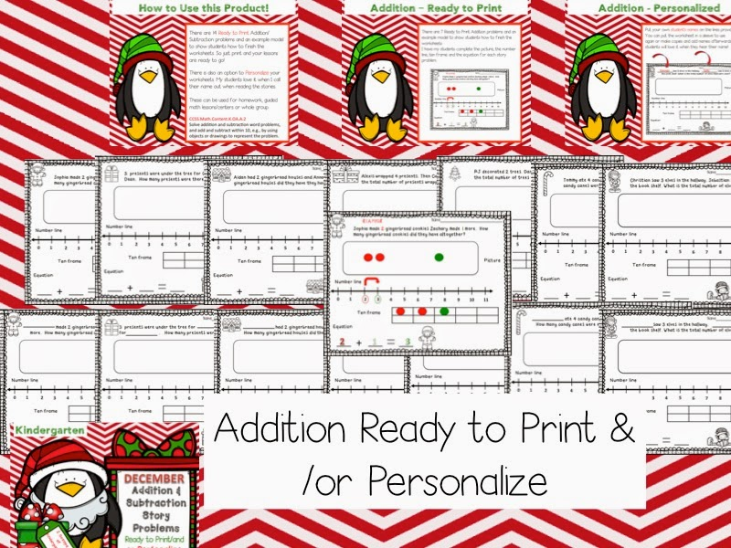 http://www.teacherspayteachers.com/Product/December-Kindergarten-Add-Subtraction-Story-Problems-Print-GoPersonalize-1587069