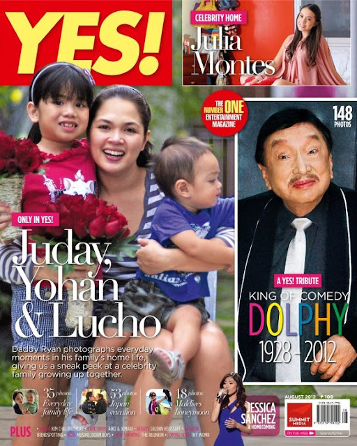 YES! Magazine August 2012 Issue Features Judy Ann Santos and Children Yohan and Lucho on the Cover, Plus a tribute to Dolphy and a peek at Julia Montes' new house