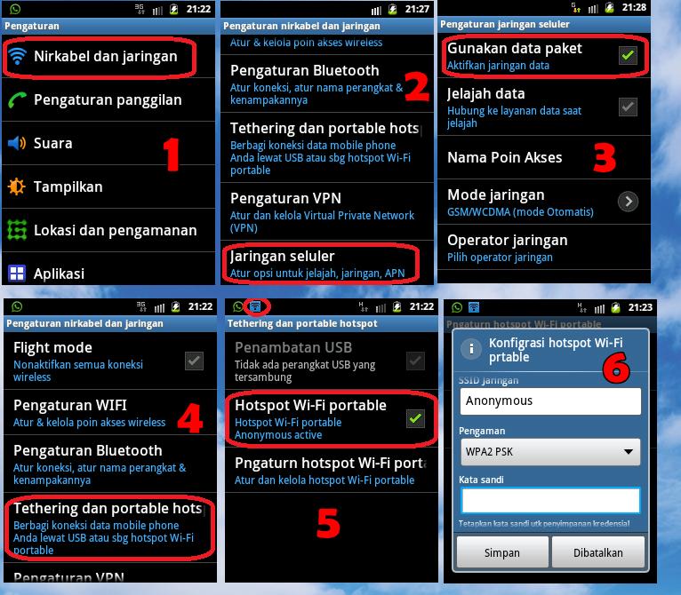 cara membuat HP android sebagai modem wifi