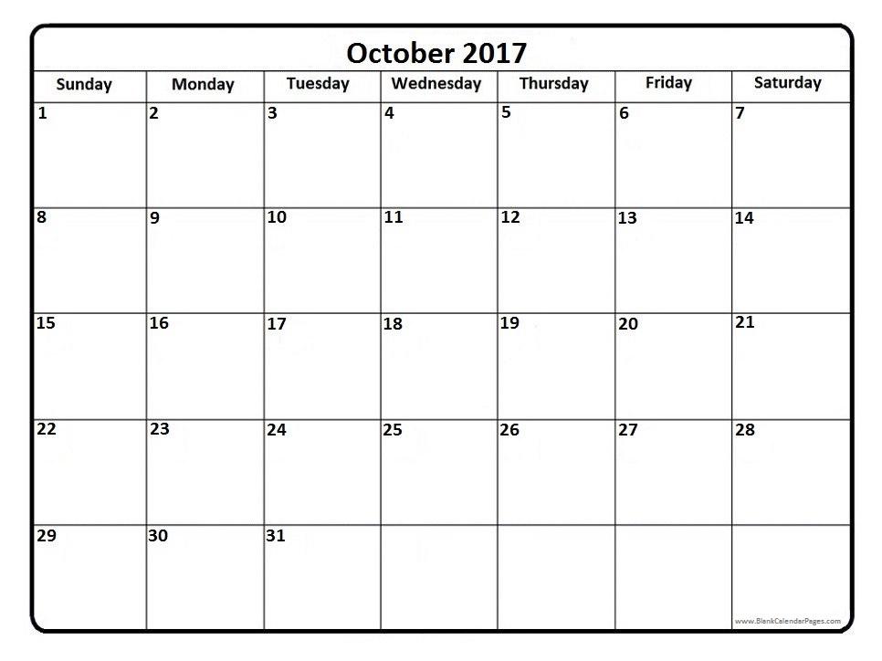 October 2017 Calendar Printable Templates