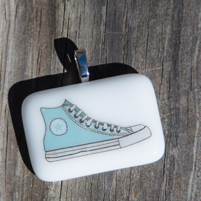high top sneakers, fusography, converse, style, fused glass, Sassy Glass Studio, Knoxville, TN, blue, sky