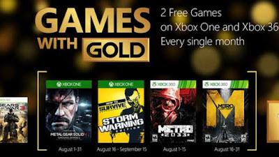 Juegos gratis en Xbox Live Gold para el mes de Agosto