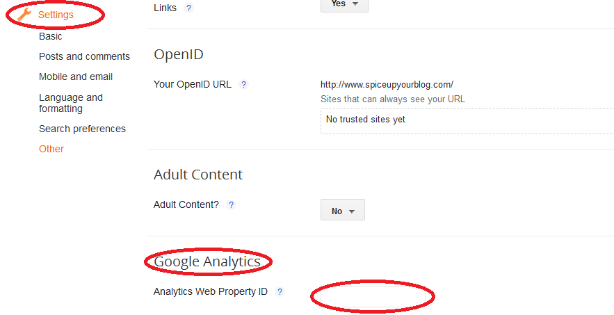 add google analytics property ID to blogger