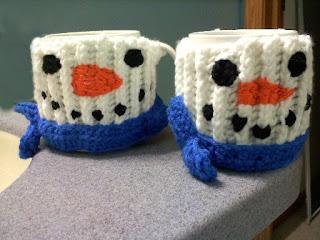 Shades of Safhire - Snowman Mug Hugs (mug cozies)