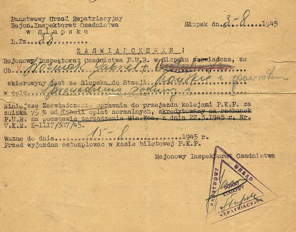 Wielu konecczan wyjechało do Słupska i dalej na południe Polski. Dokument w zbiorach rodzinnych KW.