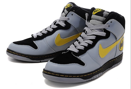 nike dunk batman shoes high tops the dark knight logo. nike high batman  shoes for men grey black yellow