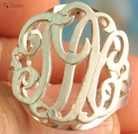 Monogrammed Sterling Silver or Gold Ring Raised