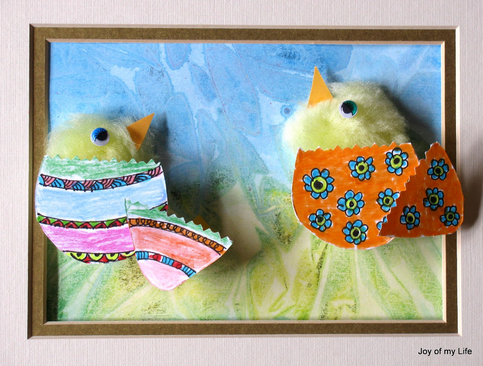 kids craft spring chicks collage