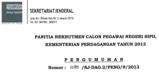Pendaftaran CPNS 2013 Kementerian Perdagangan RI