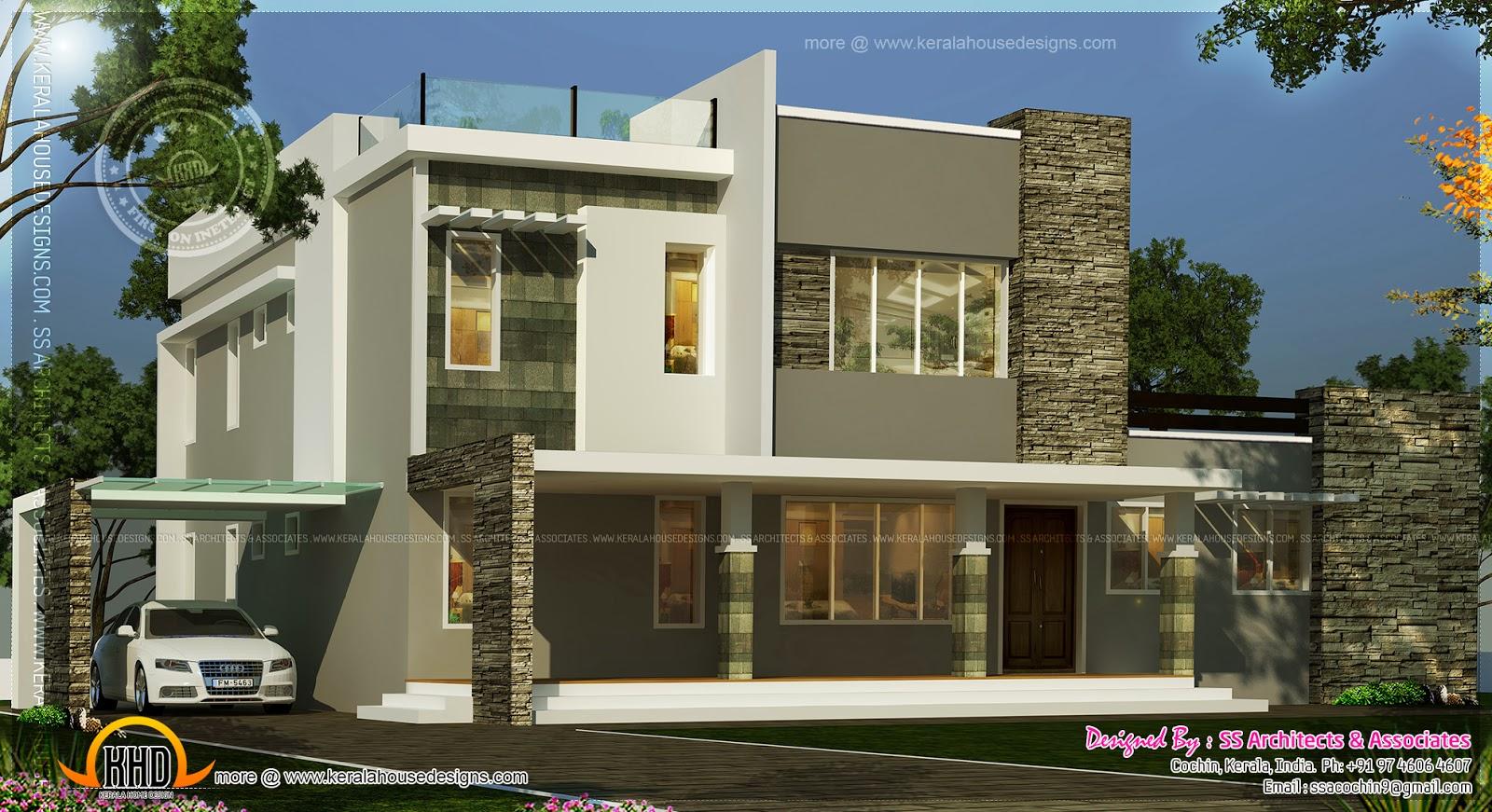 Contemporary flat roof villa plan in 2650 square feet for Contemporary villa