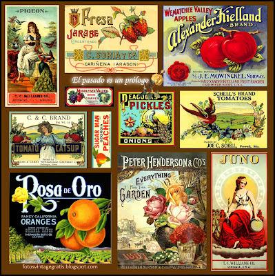 collage vintage de etiquetas de publicidad antiguas