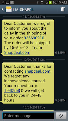 Snapdeal cheating sms