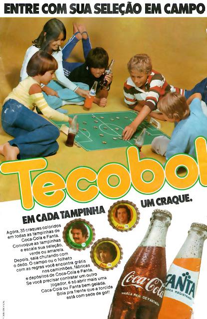 Propaganda do Tecobol. Campanha promocional em tampinhas da Coca-Cola e da Fanta.
