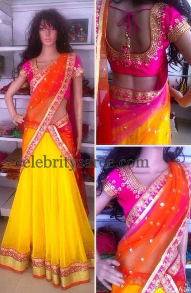Bright Half Saree with Work Blouse