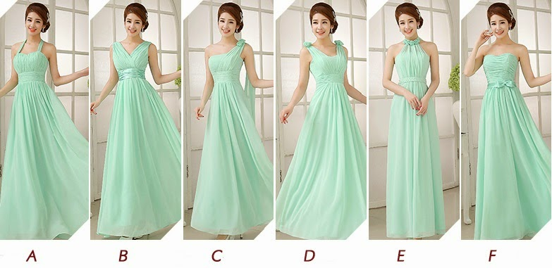 New Mint Green 6-Design Bridesmaids Maxi Dress