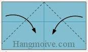 Bước 6: Gấp chéo hai góc của lớp giấy trên cùng vào trong.