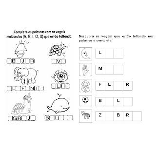 Atividades Com Vogais, encontros vocálicos