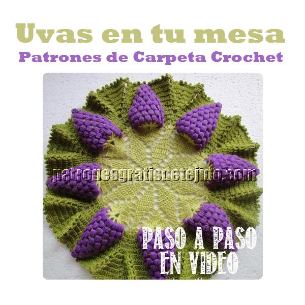 Carpeta crochet con diseño de uvas paso a paso