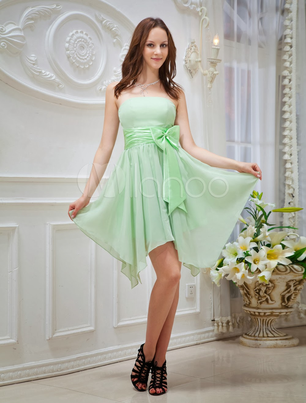 China Wholesale Clothes - Green Asymmetrical Hemline Bow Chiffon Prom Dress