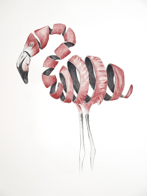 12-Flamingo-Jaume-Montserrat-Illustrations-of-Ribbon-Animals-in-Emptyland-www-designstack-co