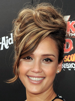 Jessica Alba piles her hair high for this sexy, retro-inspired updo