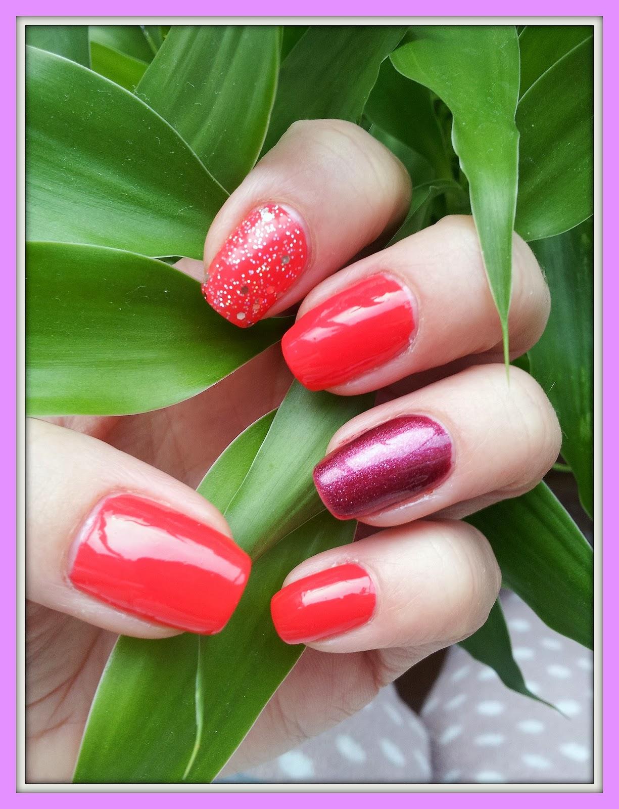 Manicure - Koral + Metaliczna Wiśnia + Brokat