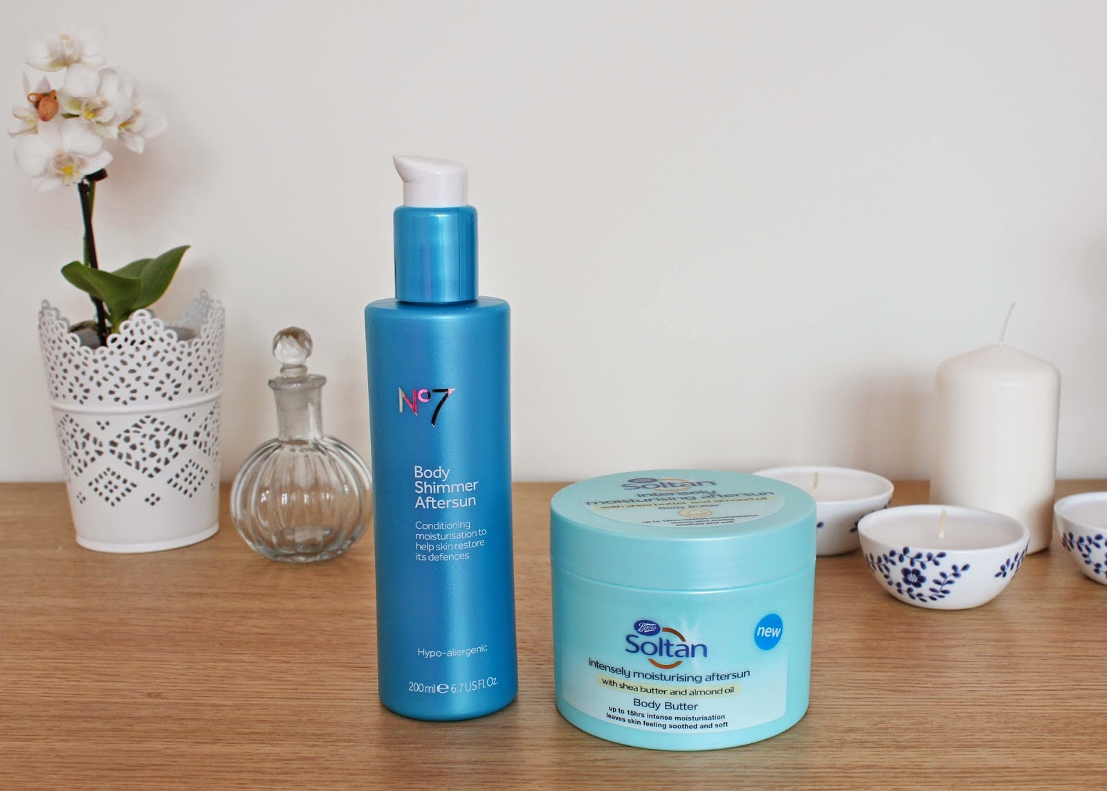 Boots aftersun care: No7 Body Shimmer and Soltan Body Butter