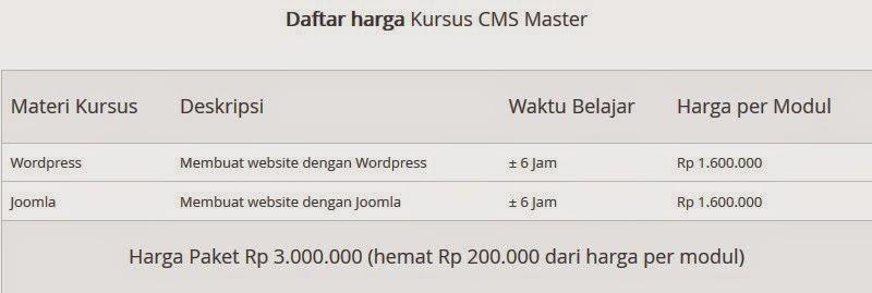 daftar harga kursus cms master