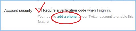 Enable Two Factor Authentication in Twitter
