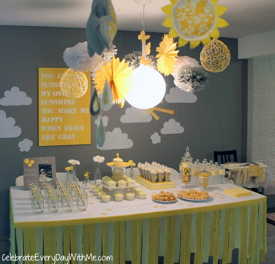 You are my sunshine party celebrate every day with me for Baby shower ceiling decoration ideas