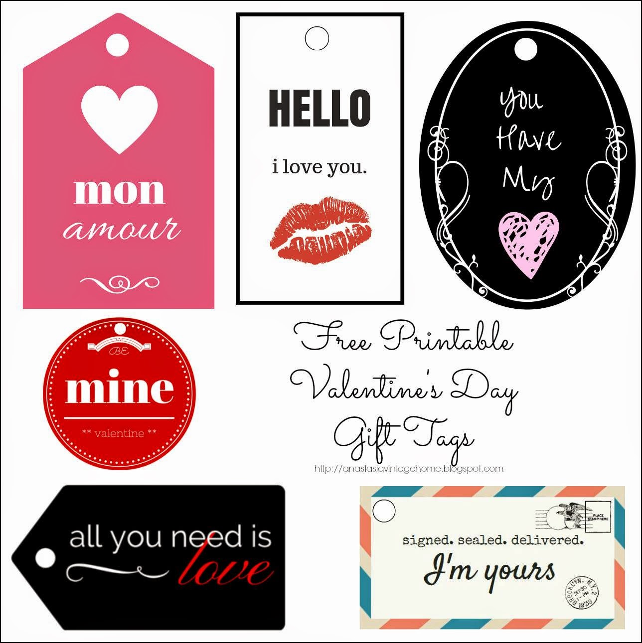 Free Valentine's Gift Tags, Printables, Pink, Red, Circle, Black Post Office