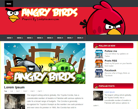Angry Birds Blogger Theme