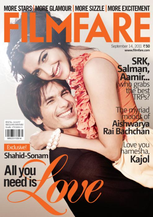 - Shahid Kapoor ,Sonam Kapoor On Filmfare Magazine Cover September 2011