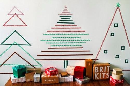 Tres árboles de Navidad realizados con washi-tape