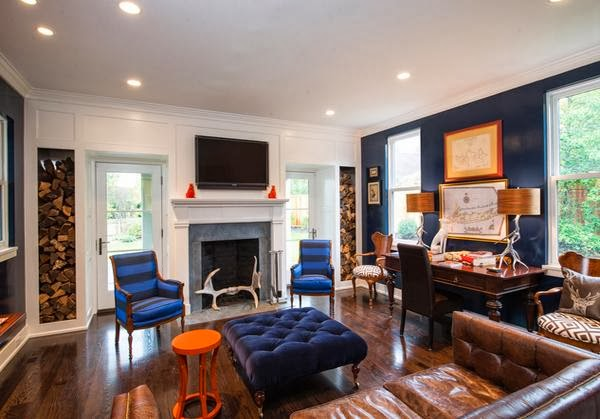 Living Room Design With Color Combination Blue Orange And Chocolate Home Inspirations