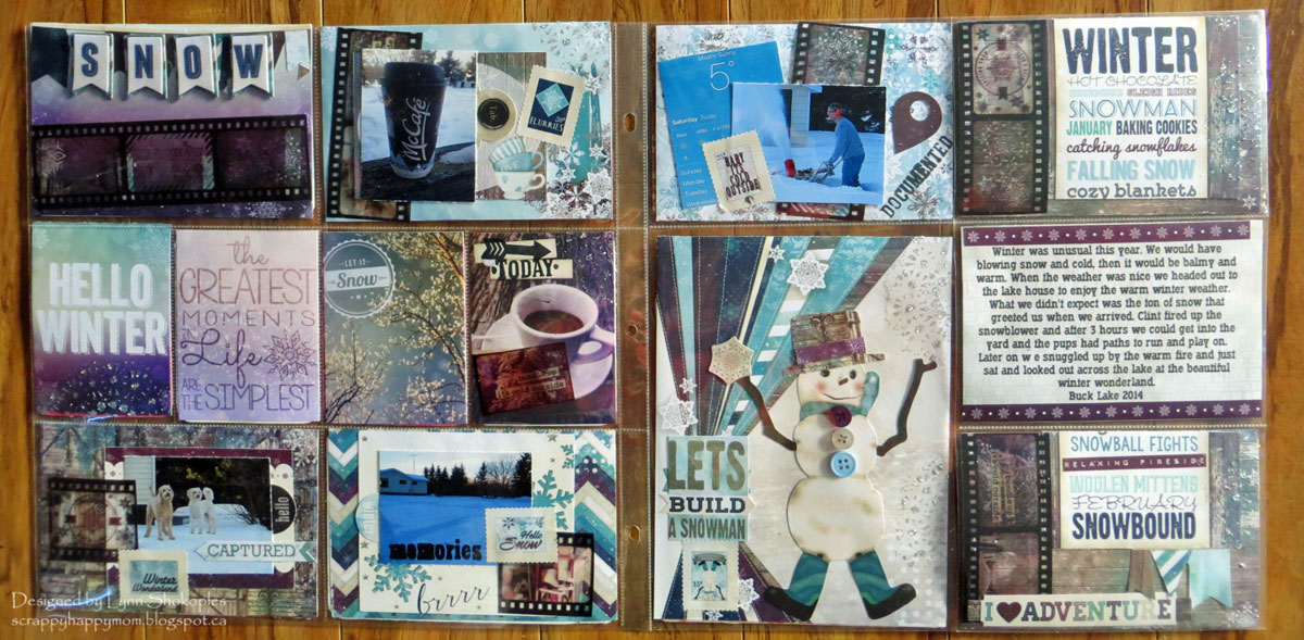 Hello Winter Misc.Me Layout by Lynn Shokoples for BoBunny featuring the Altitude Collection