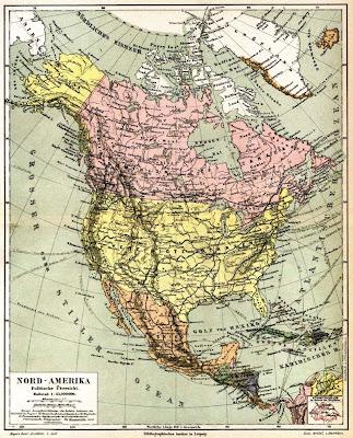 Mapa antiguo de America del Norte año1888