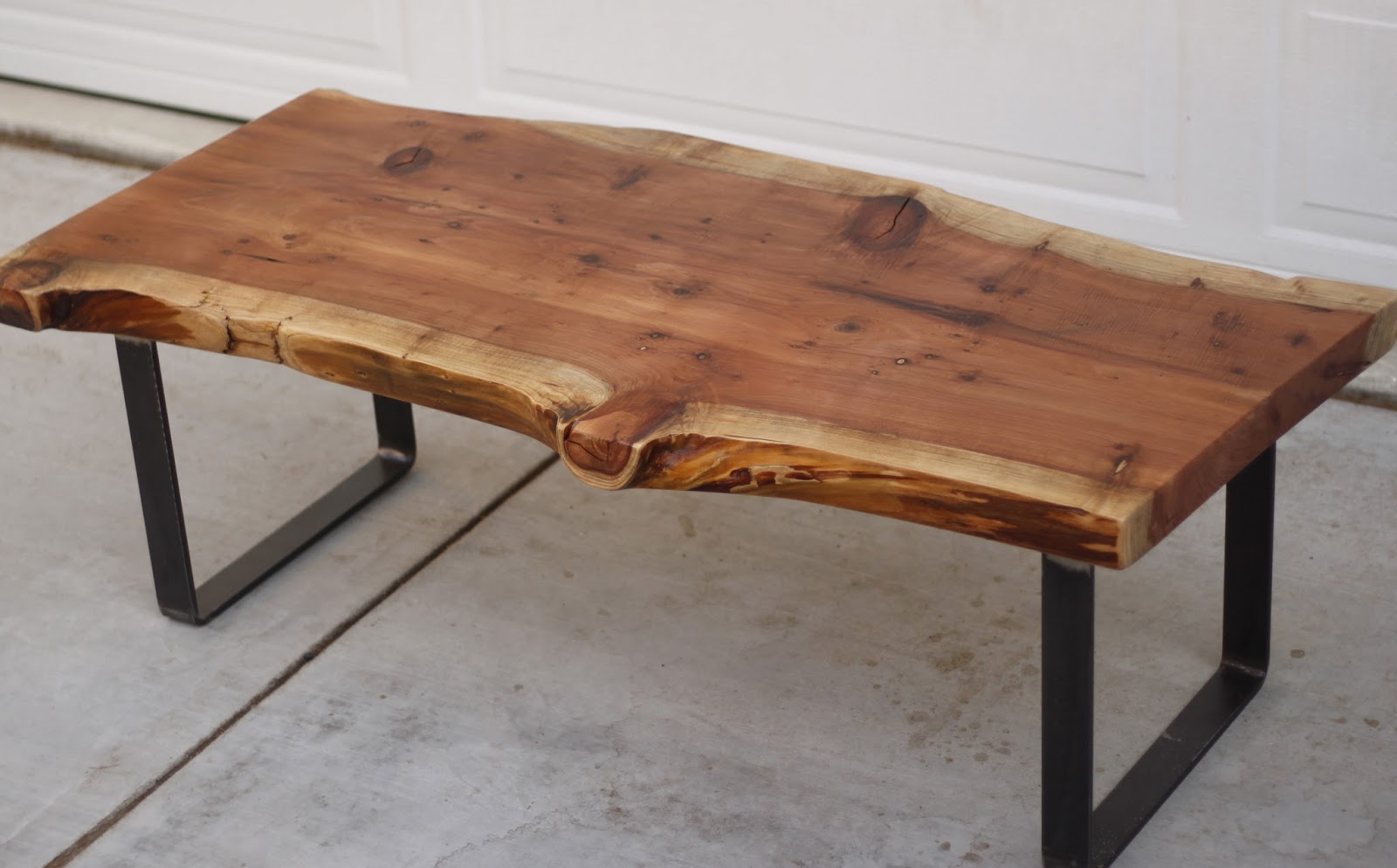 Wood slab furniture at the galleria for Wood slab coffee table