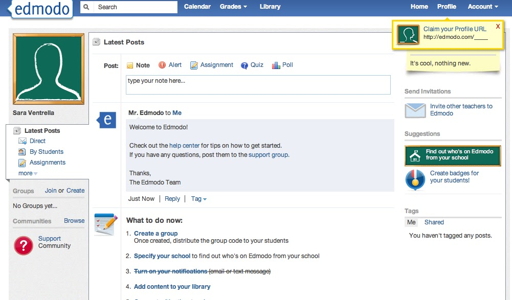 Teachers technology edmodo heres the main page once you log in you can see that it looks similar to facebook in many different aspects stopboris Images