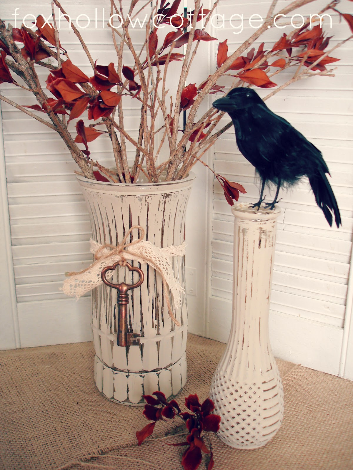 Easy DIY Fall Craft Painted Distressed Glass Vase Fox Hollow