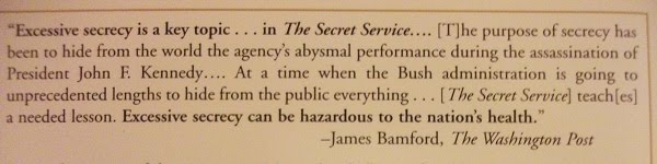 From the back jacket of Melanson's Secret Service book I contributed to