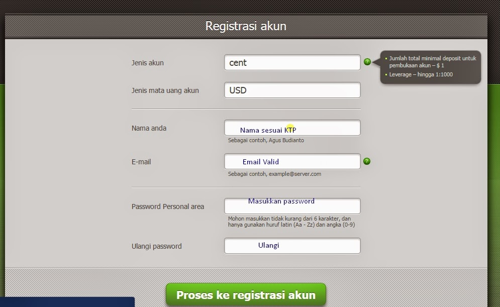 Registrasi akun FBS Forex