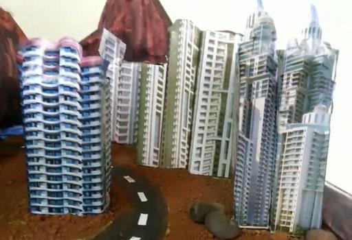 edificios con fotos pegadas