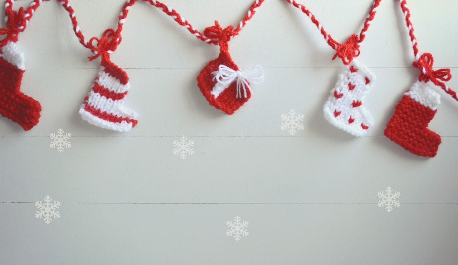 Aguja lanera: Tejer una guirnalda navideña