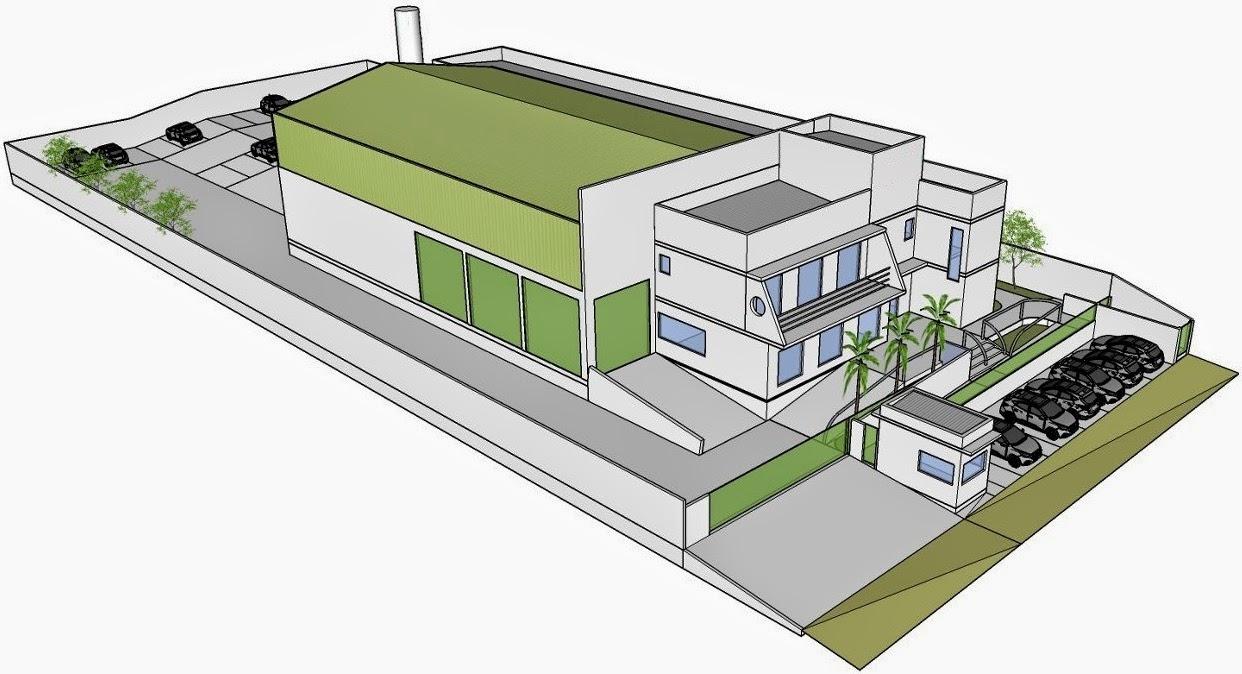 Estudo de projeto industrial em andamento, conduzido pelo arquiteto Jean Tosetto em parceria com o engenheiro civil Nestor Coelho.
