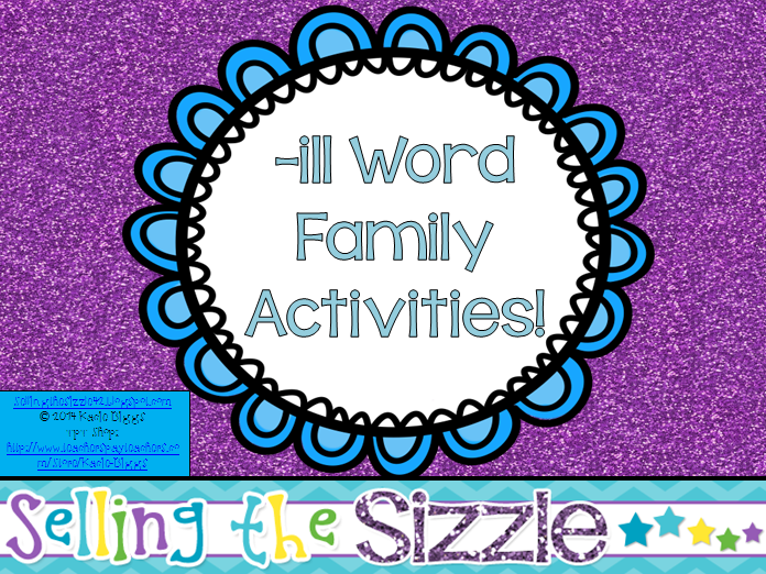 http://www.teacherspayteachers.com/Product/-ill-Word-Family-Activities-1231020