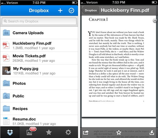 Dropbox v2.1 for iPhone, iPod Touch and iPad