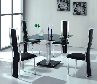 Contemporary And Modern Dining Tables Stainless Steel And Leather Chair Glas