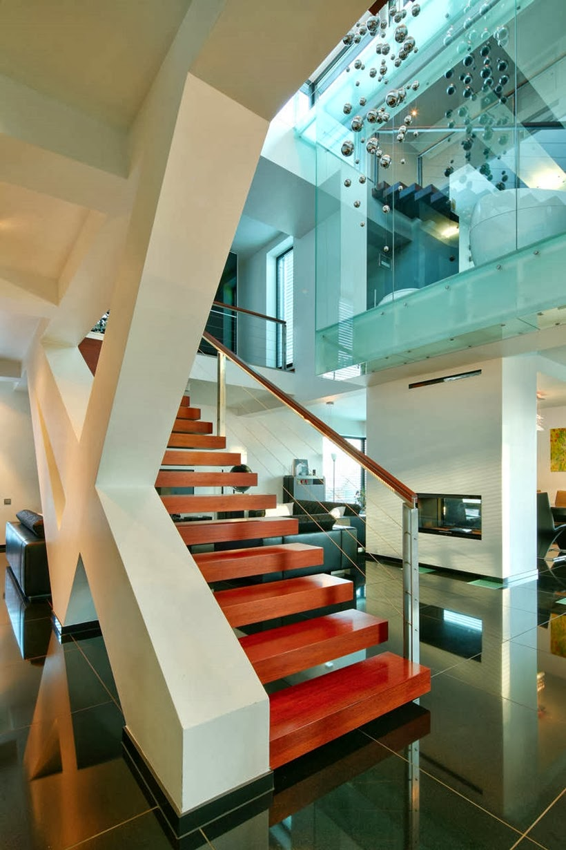 Stairs in Modern home in Krakow, Poland